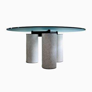 Postmoderner Italienischer Runder Esstisch mit Glasplatte von Lella und Massimo Vignelli für Acerbis