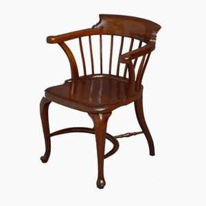 Chaise de Bureau Victorienne en Acajou Massif de H. Baker