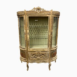 Ancient Napoleon III Hand Painted Golden Wooden Showcase, France, 1870s