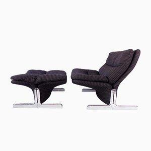 Sandwich Lounge Chair with Ottoman by Ammannati & Vitelli for Brunati, Set of 2