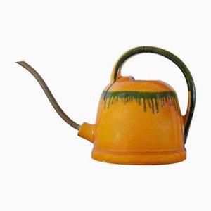 Moderne Mid-Century Keramik & Messing Gießkanne, 1950er