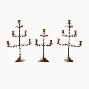 French Brass Candelabras, Set of 3