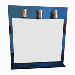 Beleuchteter italienischer Mid-Century Spiegel aus Kobaltblauem Glas & Chrom, 1970er