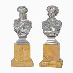 Silver-Plated Bronze Busts by Clesinger for Collas, 19th Century, Set of 2