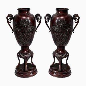 Grands Vases en Bronze, Chine, Fin 19ème Siècle