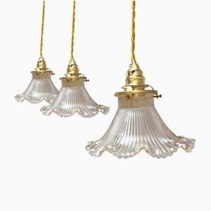 Glass Ceiling Lamps from Holophane, Set of 3