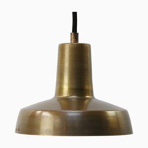 Lampe à Suspension Vintage Industrielle en Laiton Massif