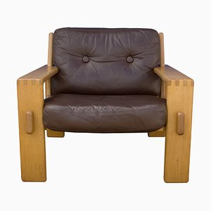 Leather & Oak Bonanza Lounge Chair by Esko Pajamies for Asko, 1970s