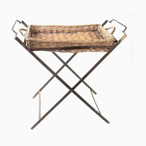 Vintage Wooden Serving Tray on Iron Stand, France