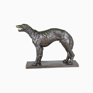 Signed Afghan Hound in Bronze by E Rouff, 20th Century
