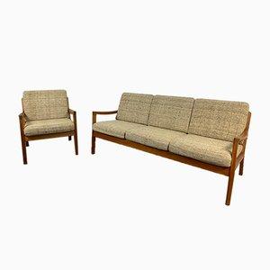 Teak 3-Seater Senator Sofa & Chair by Ole Wanscher for Cado, 1960s, Set of 2