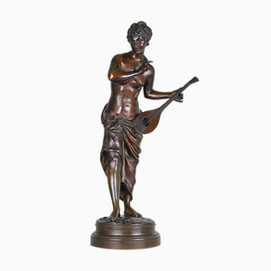 Signed Mandolin Player in Bronze by E Rousseau, 19th Century