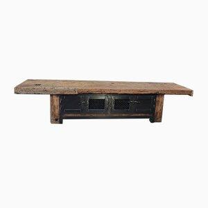 Low Industrial Shelf in Fir & Beech with 3 Metal Mesh Doors, 1930s