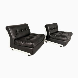 Vintage Fiberglass and Leather Amanta Armchairs by Mario Bellini for B&B, 1973, Set of 2