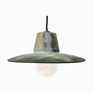 Lampe à Suspension d'Usine Vintage Industrielle en Cuivre Verte