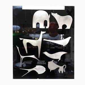 Italian Black Plexiglass Decorative Panel with Animal Design by Lino Sabattini, 1980s