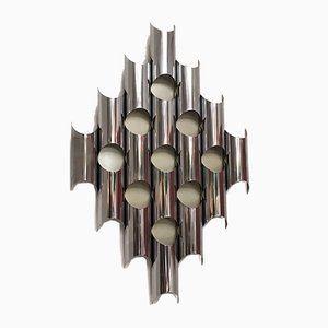 Mid-Century Modern Italian Chromed Steel Wall Lamp with Repeating Motif, 1970s