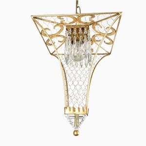 Lantern in Gilded Iron and Crystal with 1 Light from Banci