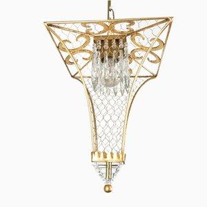 Laterne aus vergoldetem Eisen & Kristallglas mit 1 Lampe von Banci