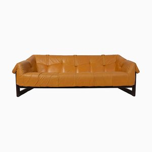 MP-091 Sofa in Leather and Hardwood by Percival Lafer, Brazil, 1960s