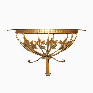Mid-Century Round Gilt Tole and Glass Coffee Table by Hans Kögl