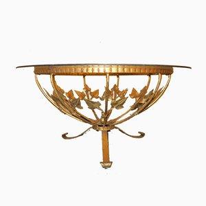 Tavolino da caffè Mid-Century rotondo in ottone dorato e vetro di Hans Kögl