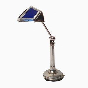 Lámpara de escritorio Art Déco de vidrio y aluminio de Pirouett, años 30