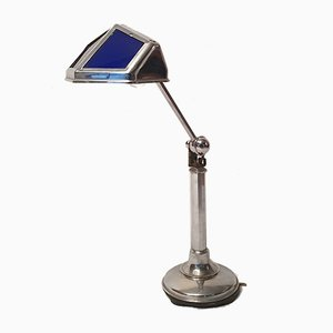 Lampe de Bureau Art Déco en Verre & Aluminium de Pirouett, 1930s