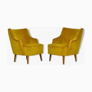 Cocktail Armchairs in Yellow Velvet, 1960s, Set of 2