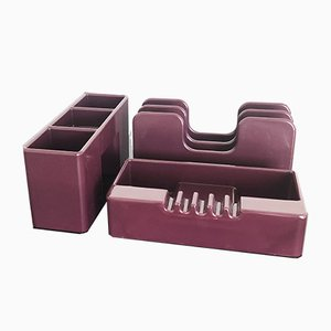 Synthesis Desk Tidy in Aubergine by Ettore Sottsass for Olivetti, 1972, Set of 3