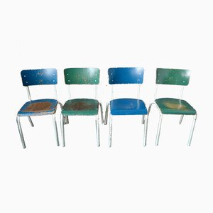 Industrial Bicolore Chairs with Patina, Set of 6