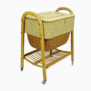 Mid-Century Bamboo & Rattan Sewing Basket on Rollers, 1950s