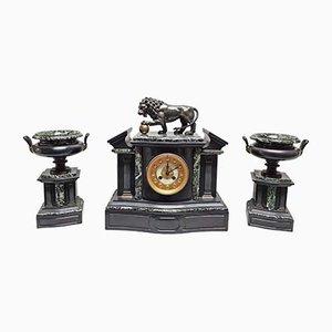 Architektonische Uhr mit Medici Löwe & Cassolette aus Bronze, 3er Set