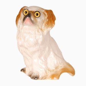 Antike Deutsche Art Deco Hund Parfüm Lampe aus Porzellan mit Glasaugen