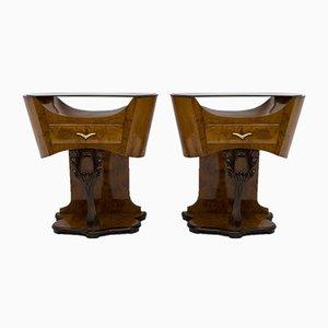 Art Deco Tables in Burr Walnut, Italy, 1920s, Set of 2