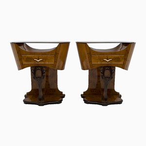 Art Deco Tische aus Wurzel- Nussholz, Italien, 1920er, 2er Set