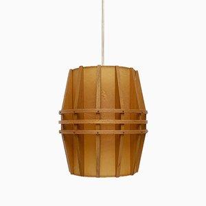 Mid-Century Cocoon Hängelampe aus Holz