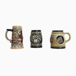 Porcelain Beer Mugs, 1980s, Set of 3