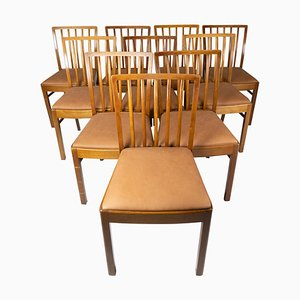 Dining Room Chairs of Light Wood and Cognac Leather, 1940s, Set of 10