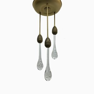 Mid-Century Ceiling Lamp with Murano Glass Drops, 1970s