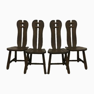 Belgian Brutalist Dining Chairs from De Puydt, 1970s, Set of 4