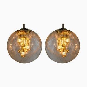 Large Globe Pendant Lights in Glass and Brass, Germany, 1970s, Set of 2