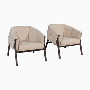 Okumi Cream Leather Armchairs by Studio Catoir for Ligne Roset, Set of 2
