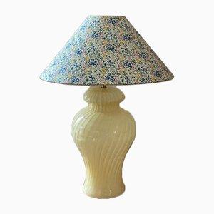 Large Murano Glass Yellow Swirl Table Lamp, 1960s