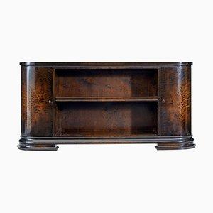 Scandinavian Art Deco Stained Birch Low Open Bookcase