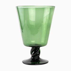 Green Crystal Vase, 20th Century