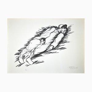 Litografia originale a due braccia di Pietro Morando, Fante, anni '50