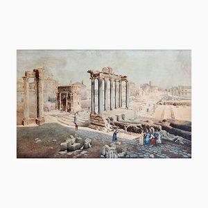 Giuseppe Costantini, View of the Forum Romanum, Original Watercolor, 1870s