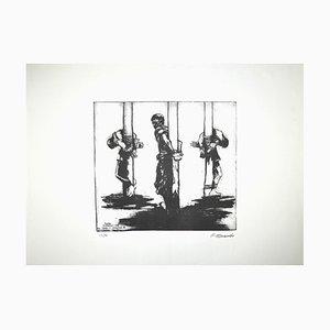 Pietro Morando, Gefangene in Ungarn, Originale Lithographie, 1950er
