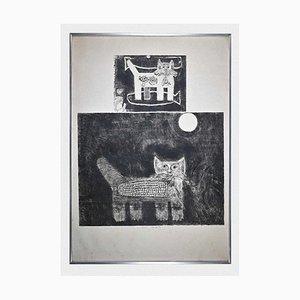 Acquaforte originale di Gian Paolo Berto, Cats, 1974